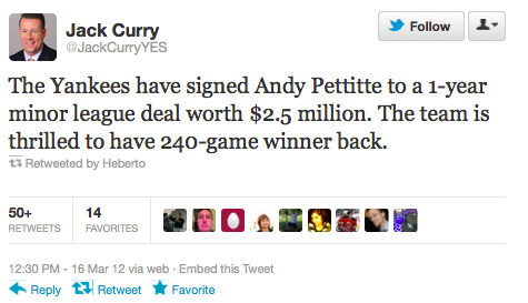 Jack Curry's Andy Pettitte Tweet