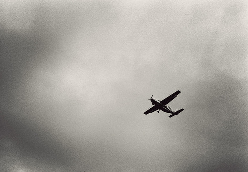 An old propeller plane flies over the Londolozi Game Reserve in South Africa.