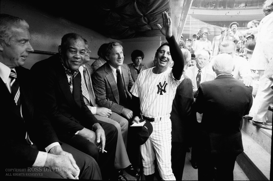Opening Day 1976, featuring Joe DiMaggio, Joe Louis, Mickey Mantle, Whitey Ford and Billy Martin.