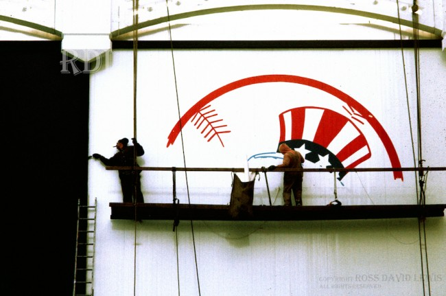 April 9, 1976—Yankee Logo being painted.
