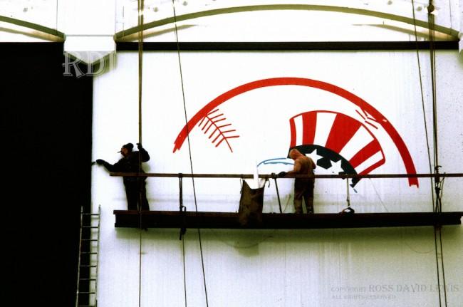 April 9, 1976—Yankee Logo being painted.