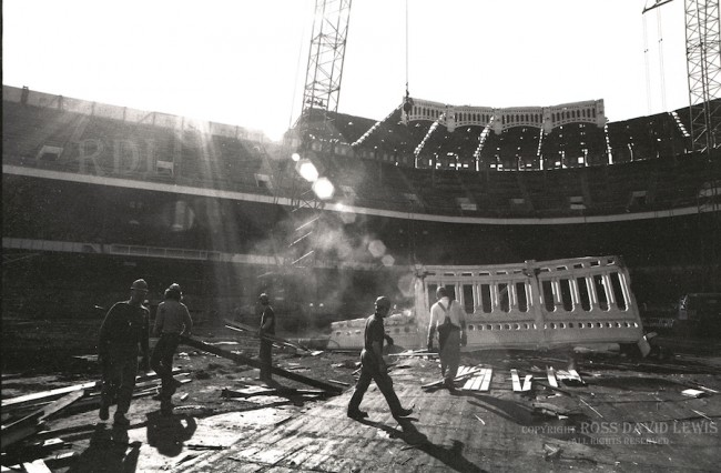 Nov, 1973—Copper Frieze, Workers on infield.