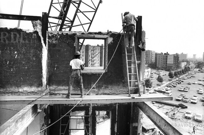 August 20, 1974—Scaffold workers on partial wall.