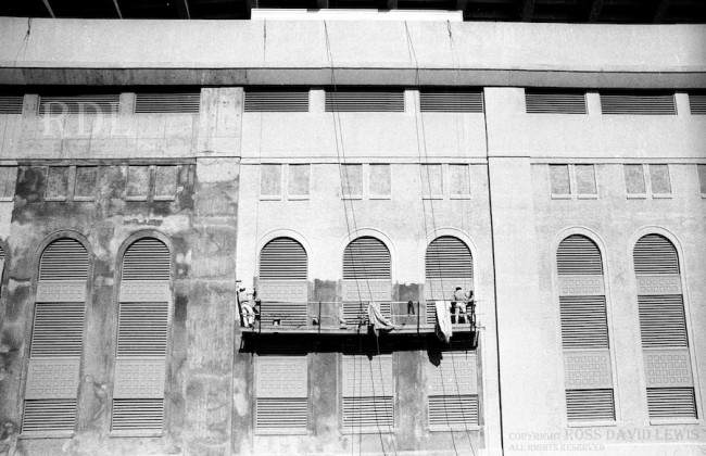 March 8, 1976—Painting the exterior walls.